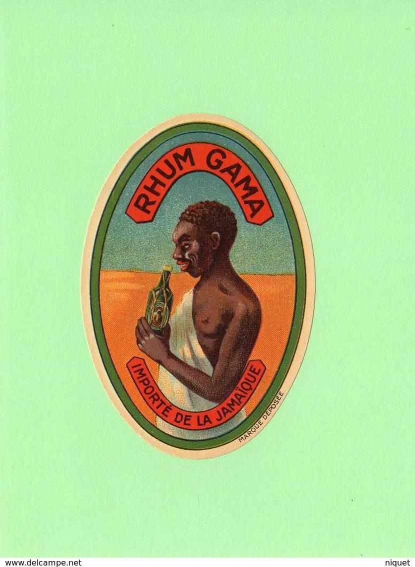 Etiquette Rhum Gama, Importé De La Jamaïque - Rhum