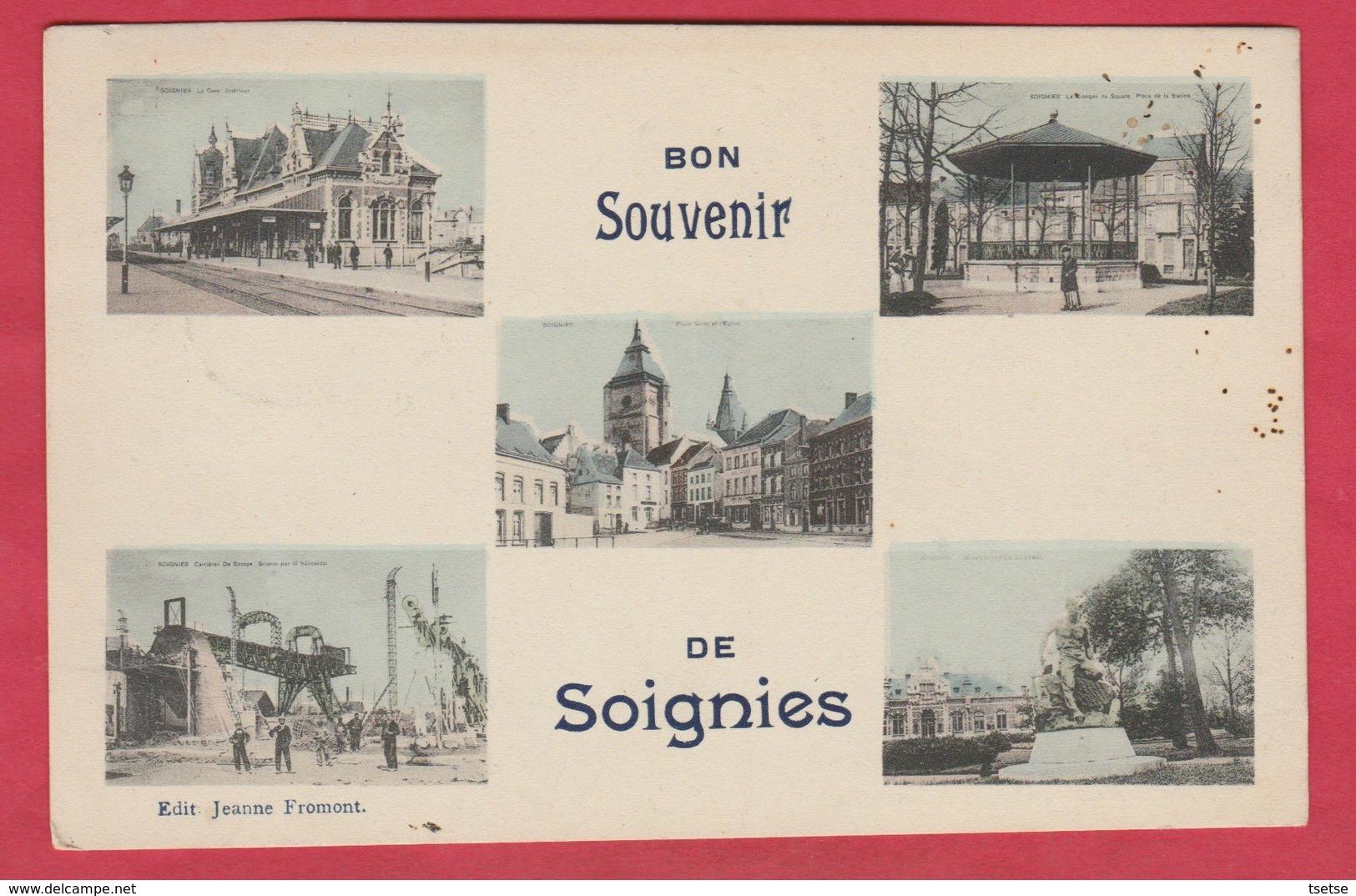 Soignies - Bon Souvenir De ... Carte 5 Vues -1909 ( Voir Verso ) - Soignies