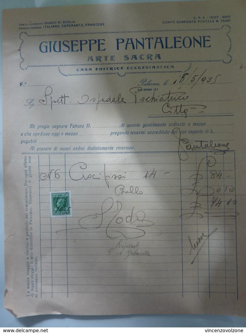 "Fattura ""GIUSEPPE PANTALEONE ARTE SACRA Casa Editrice Ecclesiastica"" Palermo 1935 - Italia"