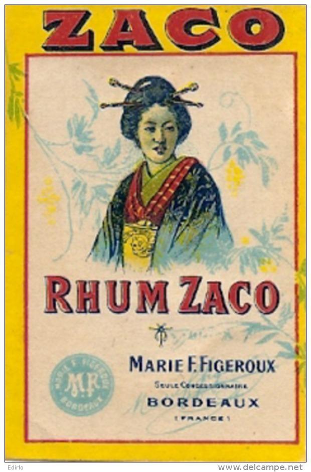 étiquette  - Pour Mignonette RHUM ZACO - Parafinée - BORDEAUX - Rhum