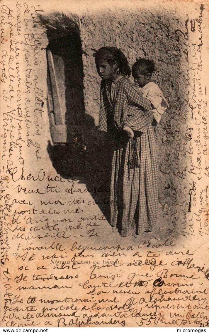Algérie - Négresse Portant Son Enfant - Women
