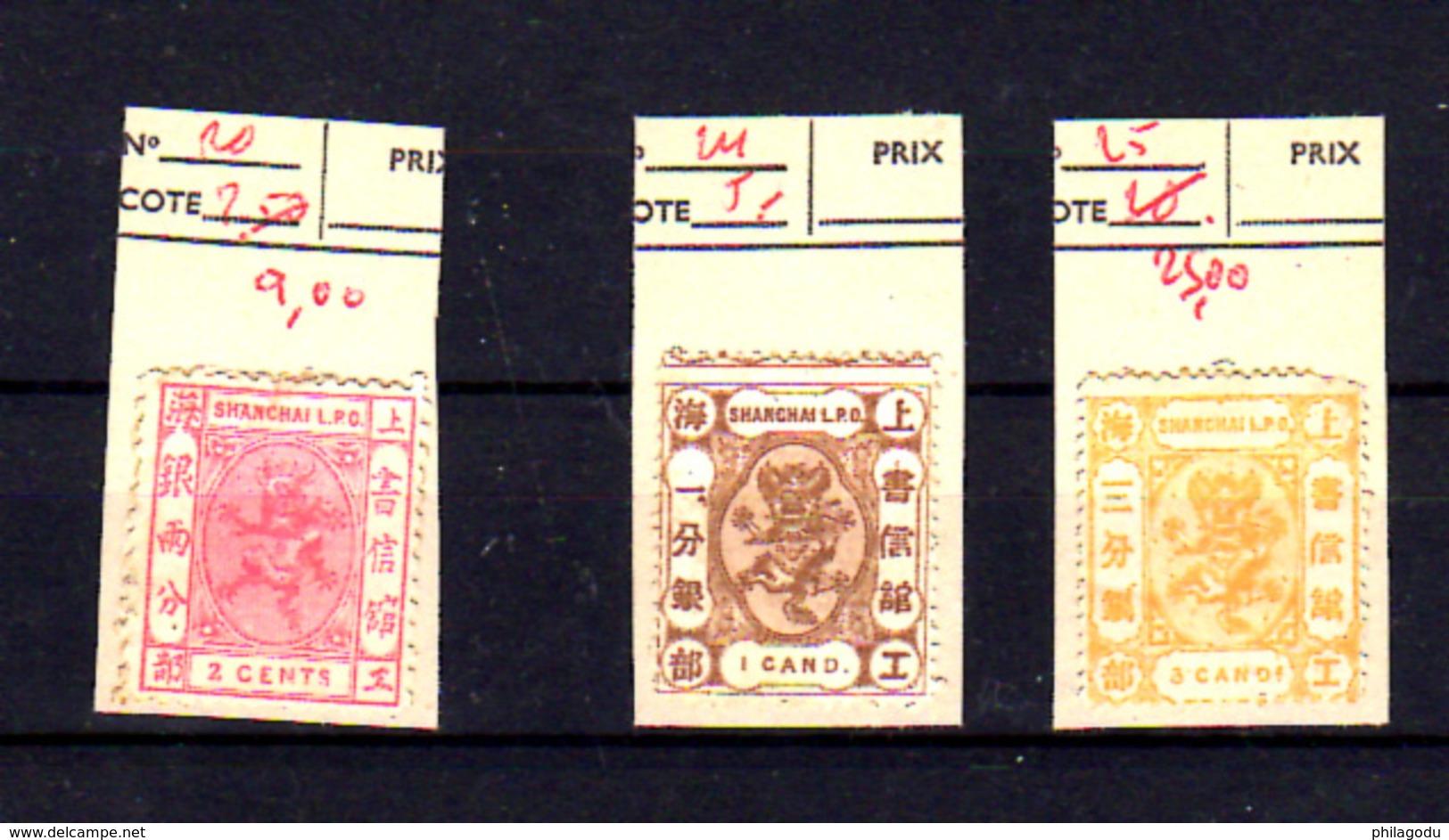 1866-67    Shangai,  Dragons, 20 -24 – 25 Sans Gomme, Cote 63 €, - Timbres