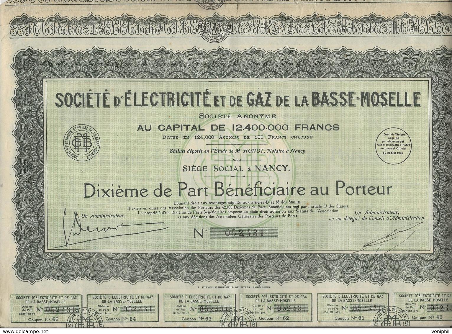 SOCIETE D'ELECTRICITE ET DE GAZ DE LA BASSE MOSELLE LOT DE 3 DIXIEME DE PART BENEFICIAIRE - Electricité & Gaz