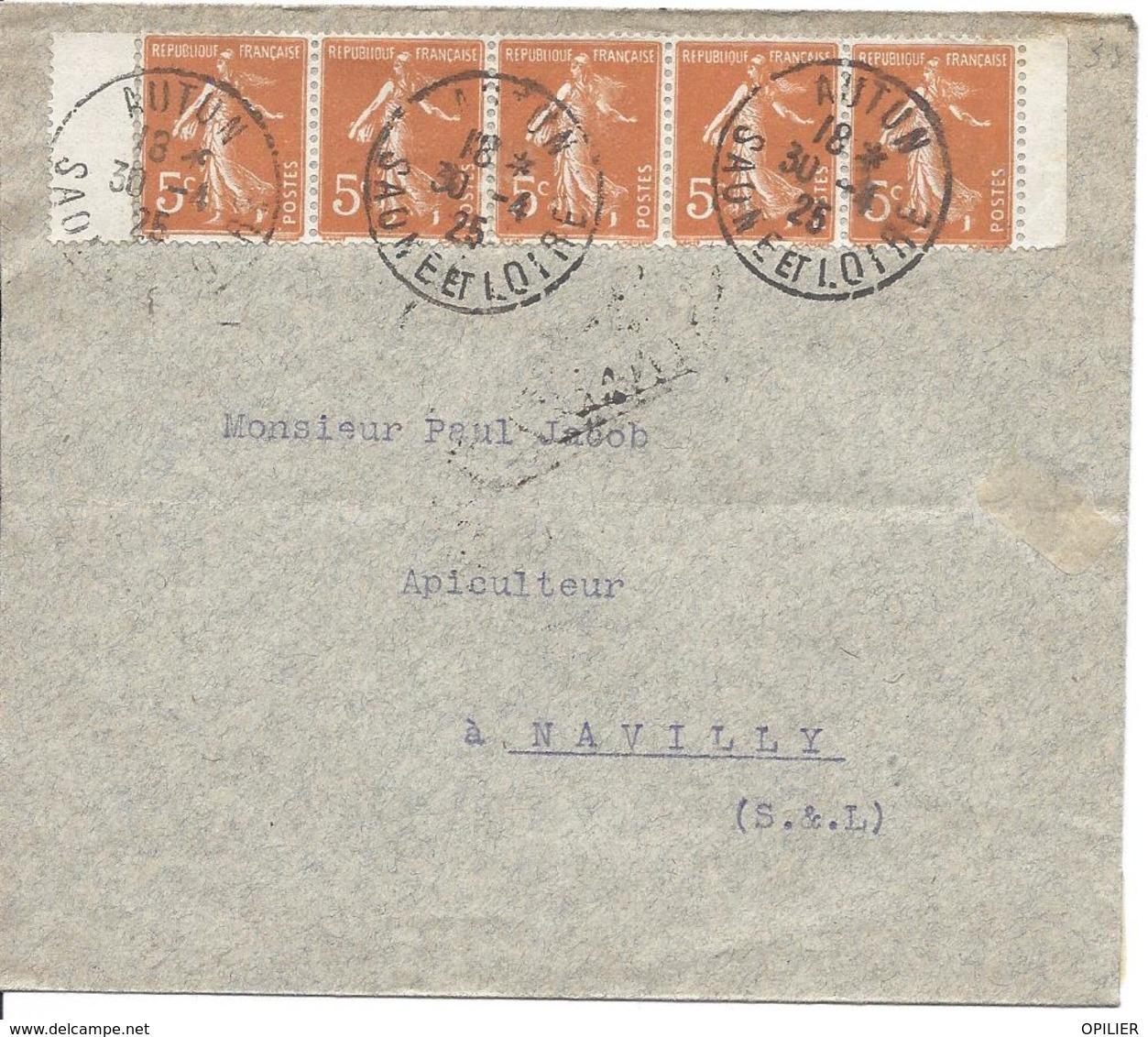 5c Orange Bande De 5 Avec Les 2 Marges N° 158 Tarif 25c AUTUN SAONE ET LOIRE 30 4 1925 - 1906-38 Semeuse Camée