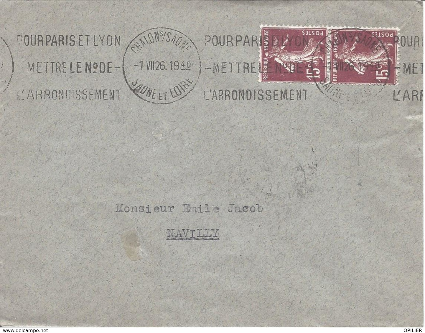 15c Brun-lilas N° 189 Paire Tarif 30c Krag CHALON SUR SAONE Pour Paris Mettre Le N° De L'arrondissement 1 7 1926 - 1906-38 Semeuse Camée