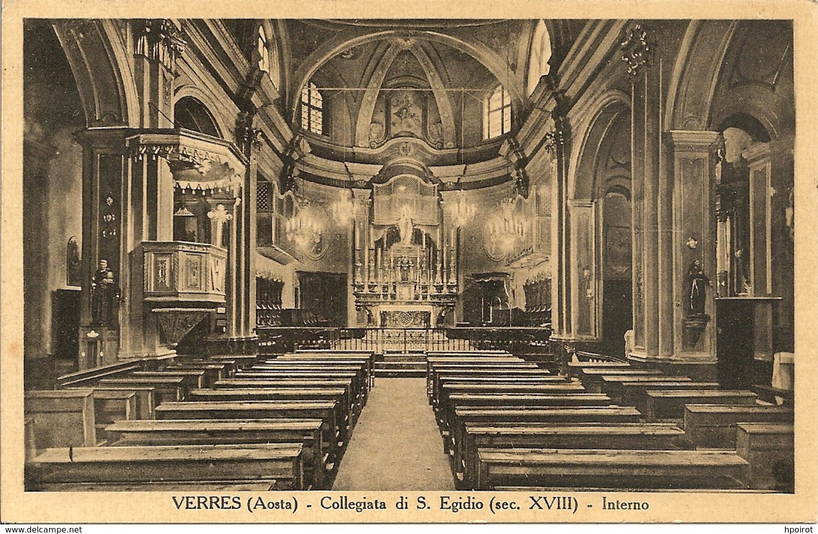 VERRES - COLLEGIATA DI S. EGIDIO - INTERNO  - FORMATO PICCOLO - VIAGGIATA 1937 - (rif. B19) - Italia