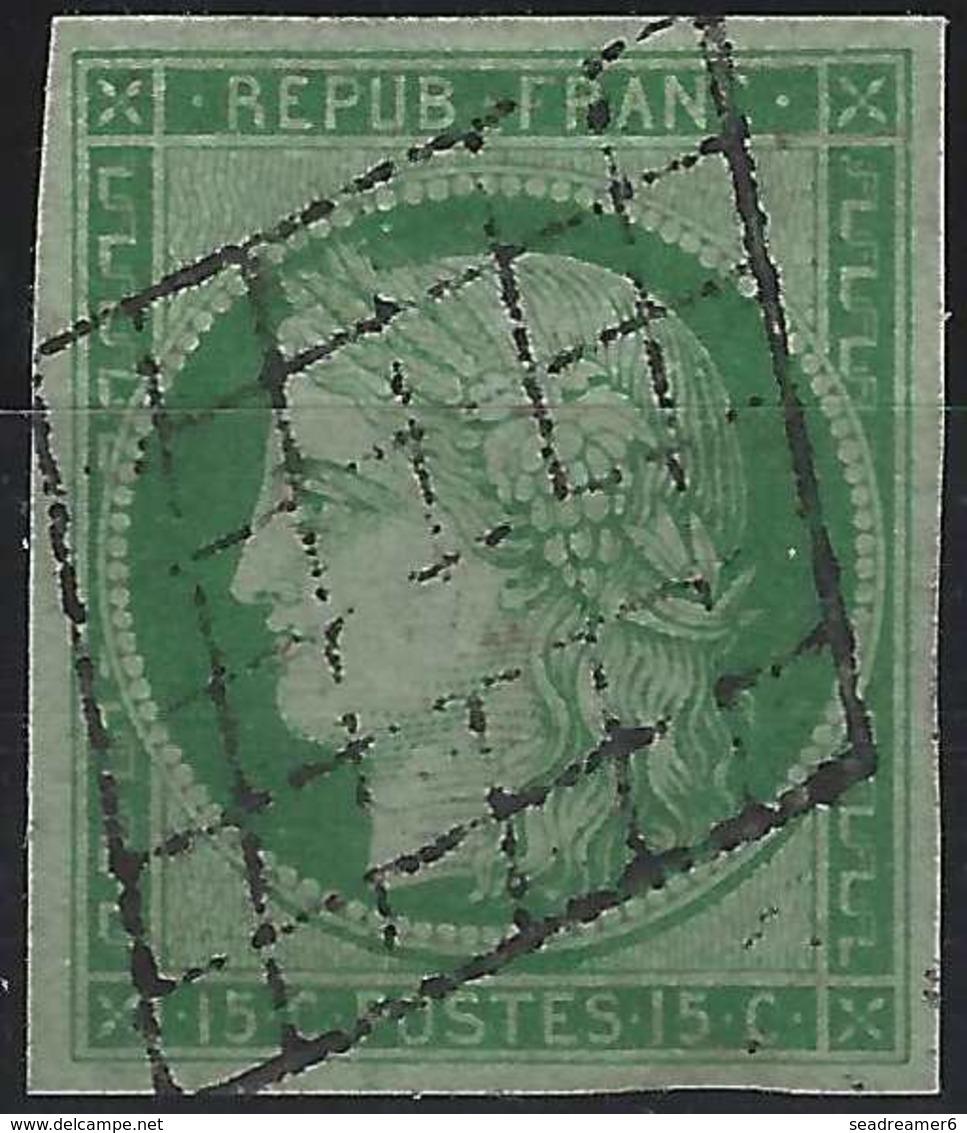 France 1849 - 1850 Céres N°2b, 15 C Vert  Jaune Oblitéré Grille Tres Légère Superbe ! Signé Brun - 1849-1850 Ceres