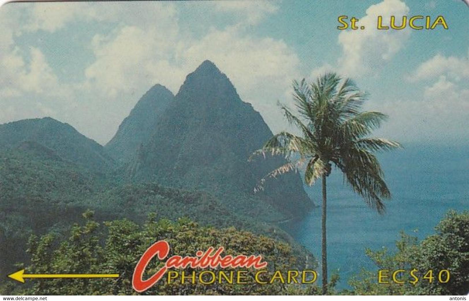 ST. LUCIA ISL.(GPT) -  Pitons 2(no Logo), CN : 7CSLC, Tirage %20000, Used - Santa Lucia