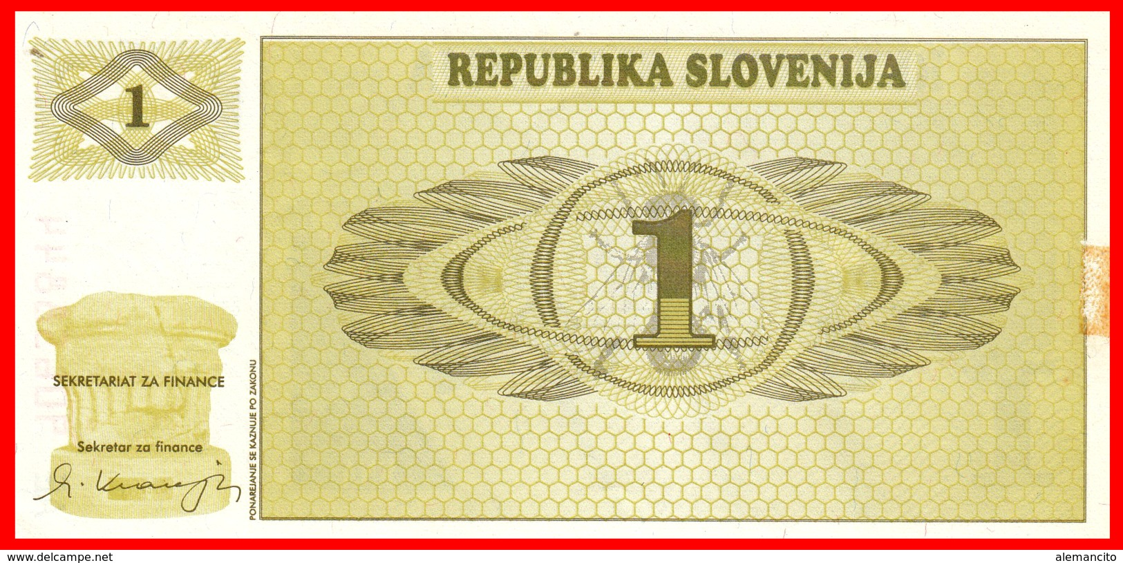 BILLETE DE ESLOVENIA S/C 1 TOLARJEV 1990 - Slovénie