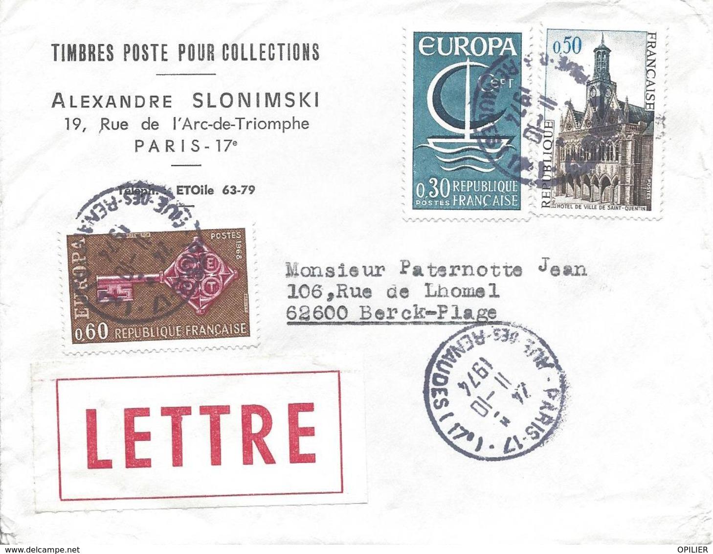 PARIS 17 RUE DES RENAUDES 11 10 1974 RECOMMANDE Timbres ST Quentin Et 2 Europa - Marcophilie (Lettres)