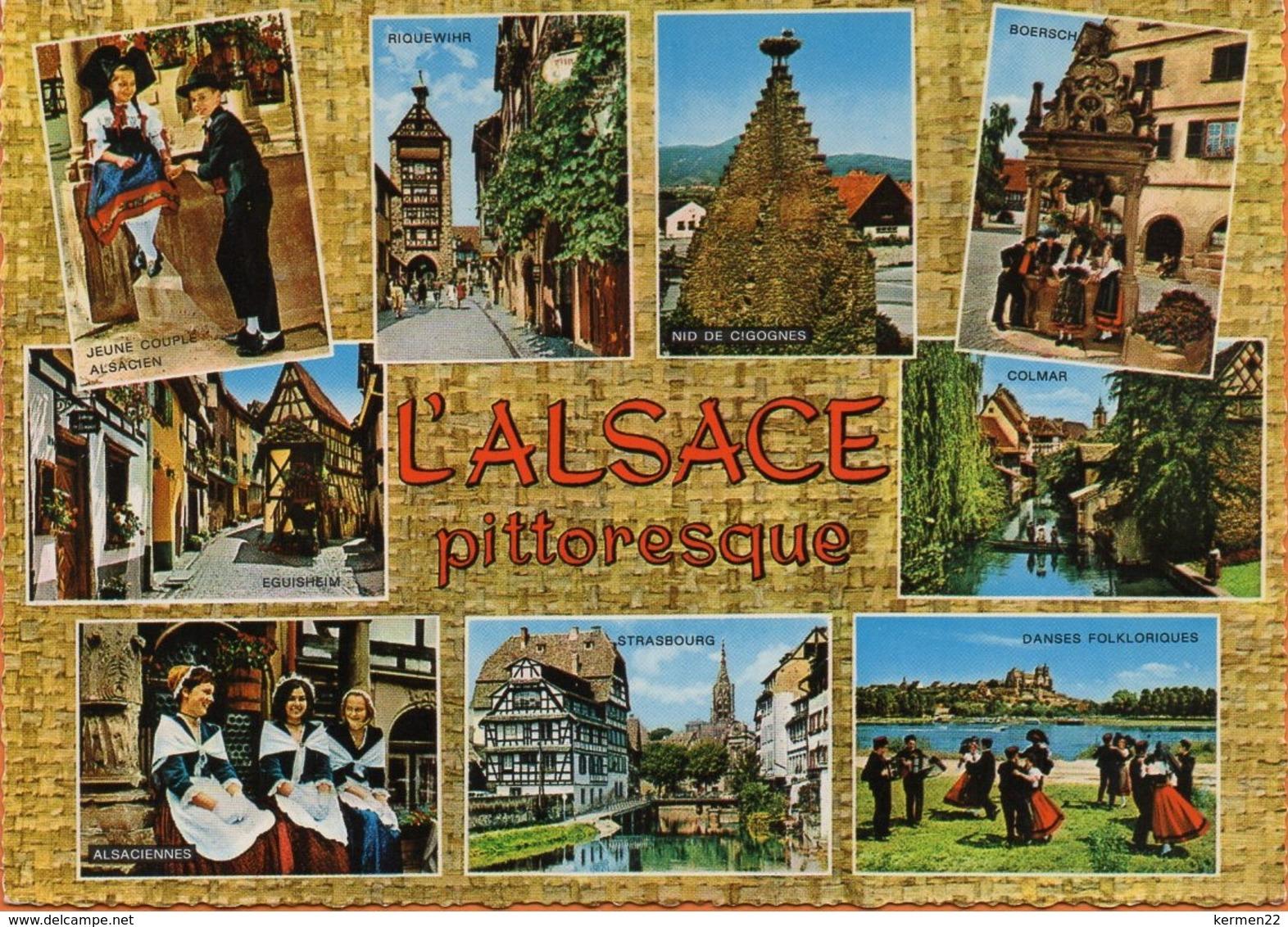 CP L'ALSACE PITTORESQUE RIQUEWIHR EGUISHEIM BOERSCH COLMAR STRASBOURG - Alsace