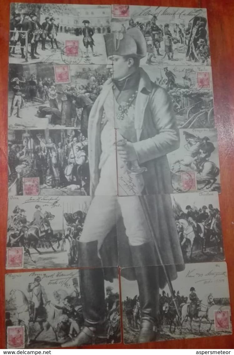 NAPOLEON ET SON BATAILLES X 10 CARTES POSTALES CIRCULEE CIRCA 1906s CORRESPONDANCE FAMILLIE LOUSTALAN-UNIQUE RARI- BLEUP - Historische Figuren