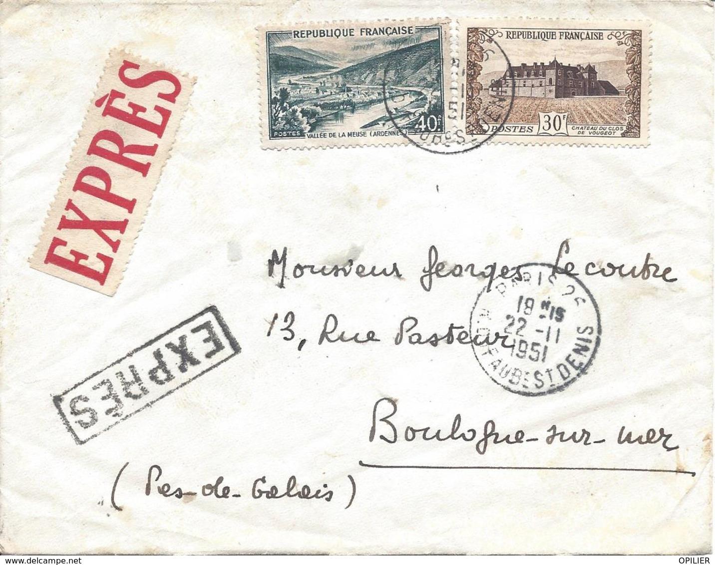 Chateau Du Clos Vougeot N° 913 + Vallée De La Meuse N°842A Tarif 70F Lettre Par EXPRES 22 11 1951 Vigne Vin Rivière - France