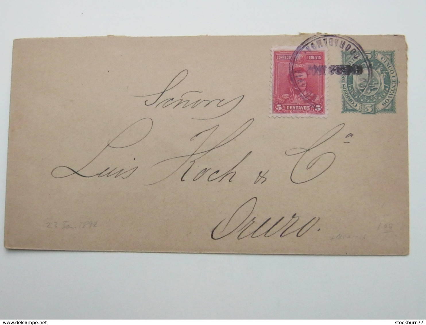 1902 , Lettre Postal Cochabamba - Bolivia