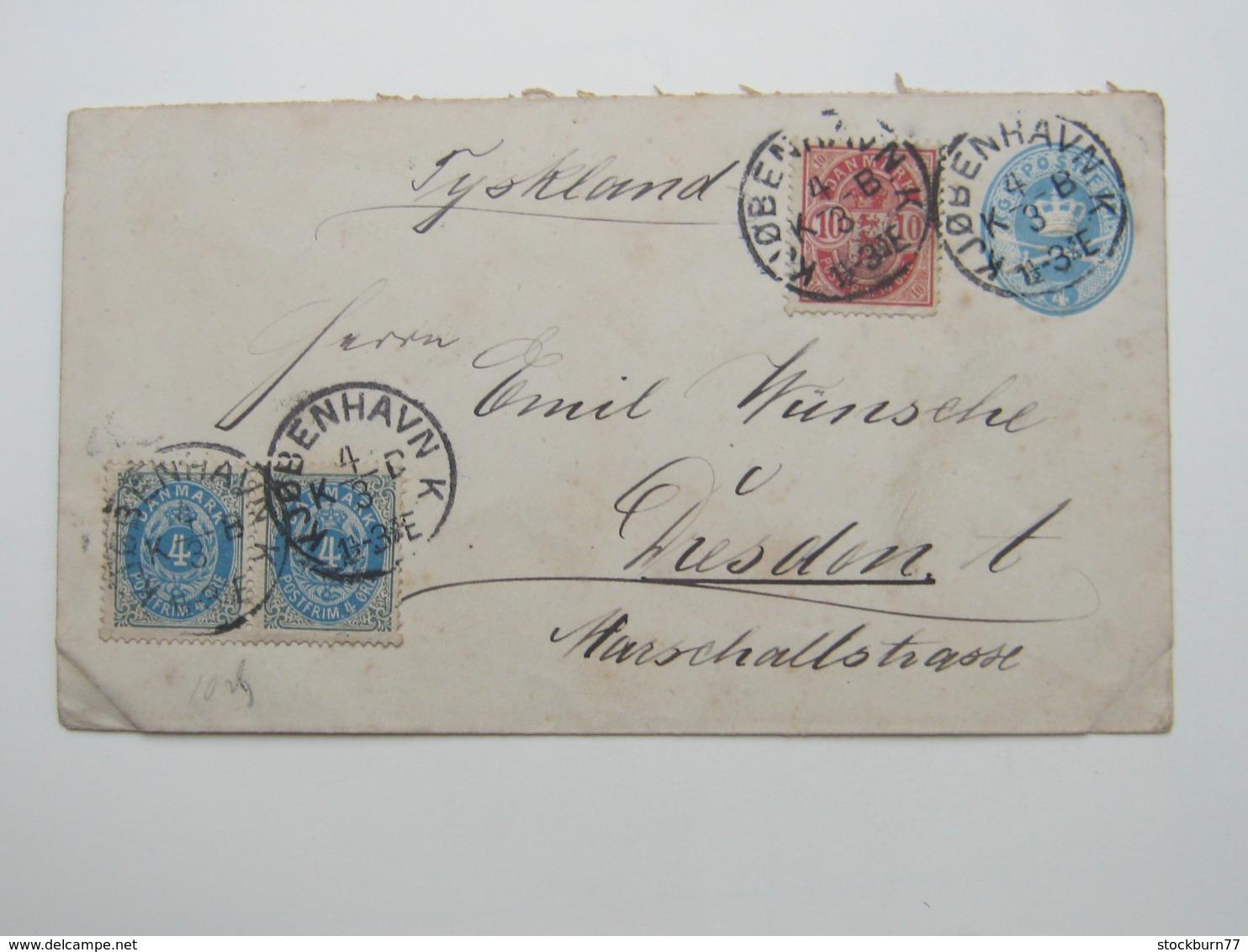 1894 , Ganzsache  Nach Deutschland - 1864-04 (Christian IX)