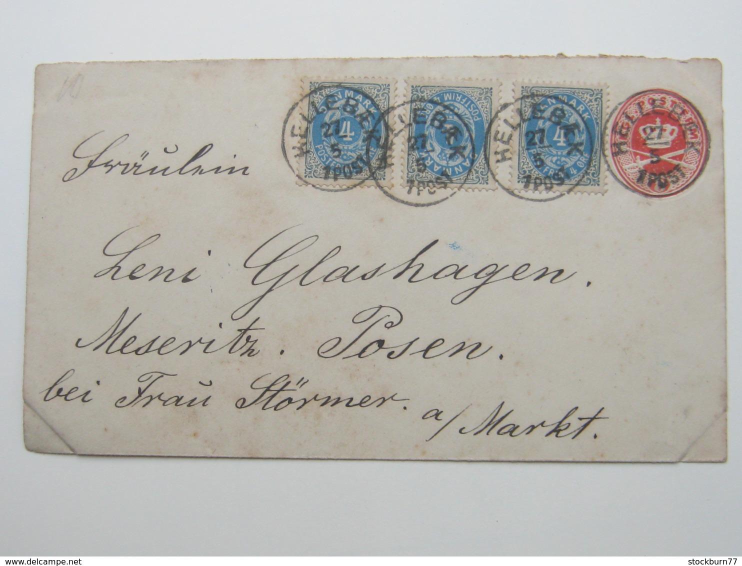 1893 , Ganzsache Aus Hellebaek Nach Deutschland - 1864-04 (Christian IX)