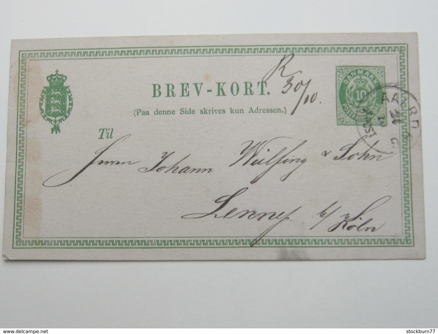1877 , Ganzsache  Aus AALBORG Nach Deutschland - 1864-04 (Christian IX)