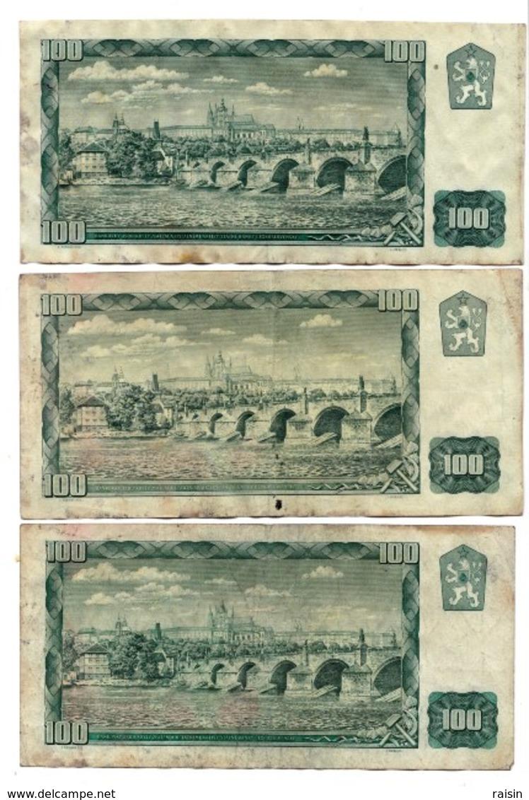 Billet Tchécoslocaquie 1961 100  B17,38  C09,28  D14 Z02,03,04,10  Lot De 9 BE - Tchécoslovaquie