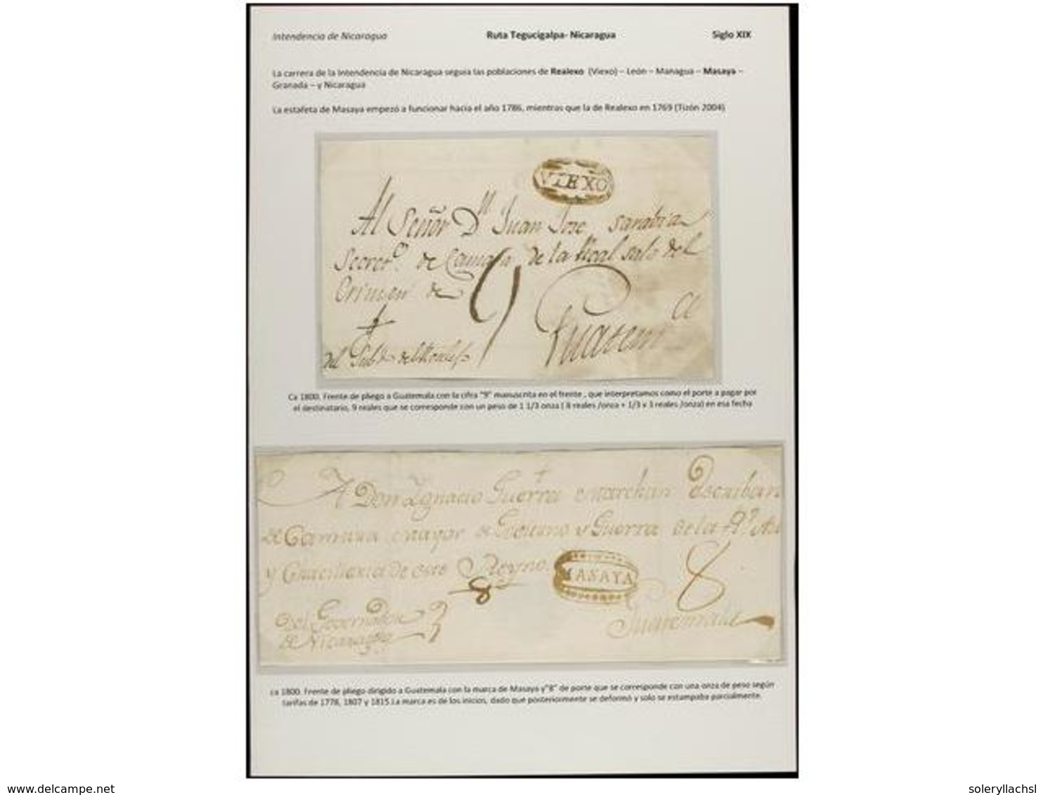 NICARAGUA. PERÍODO COLONIAL. Colección De 18 Cartas O Frontales. Muchas Marcas Raras Y Difíciles De Conseguir. La Mayorí - Unclassified