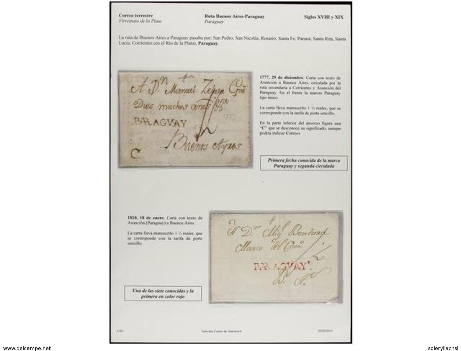 PARAGUAY. PERÍODO COLONIAL. Extraordinario Conjunto Formado Por Diez Cartas Del Período Colonial Español Y Una De Asunci - Unclassified