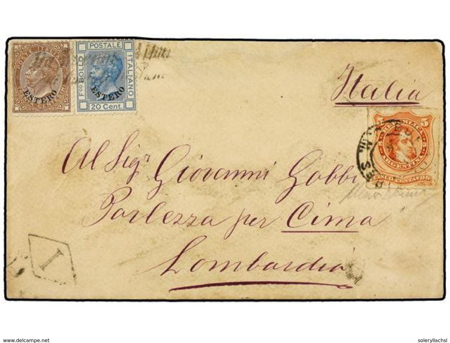ARGENTINA. 1876 (8-Oct.). BUENOS AIRES A PORLEZZA (Italia). Sobre Circulado Con Sello Argentino De 5 Cts. Rojo Y Sellos  - Unclassified