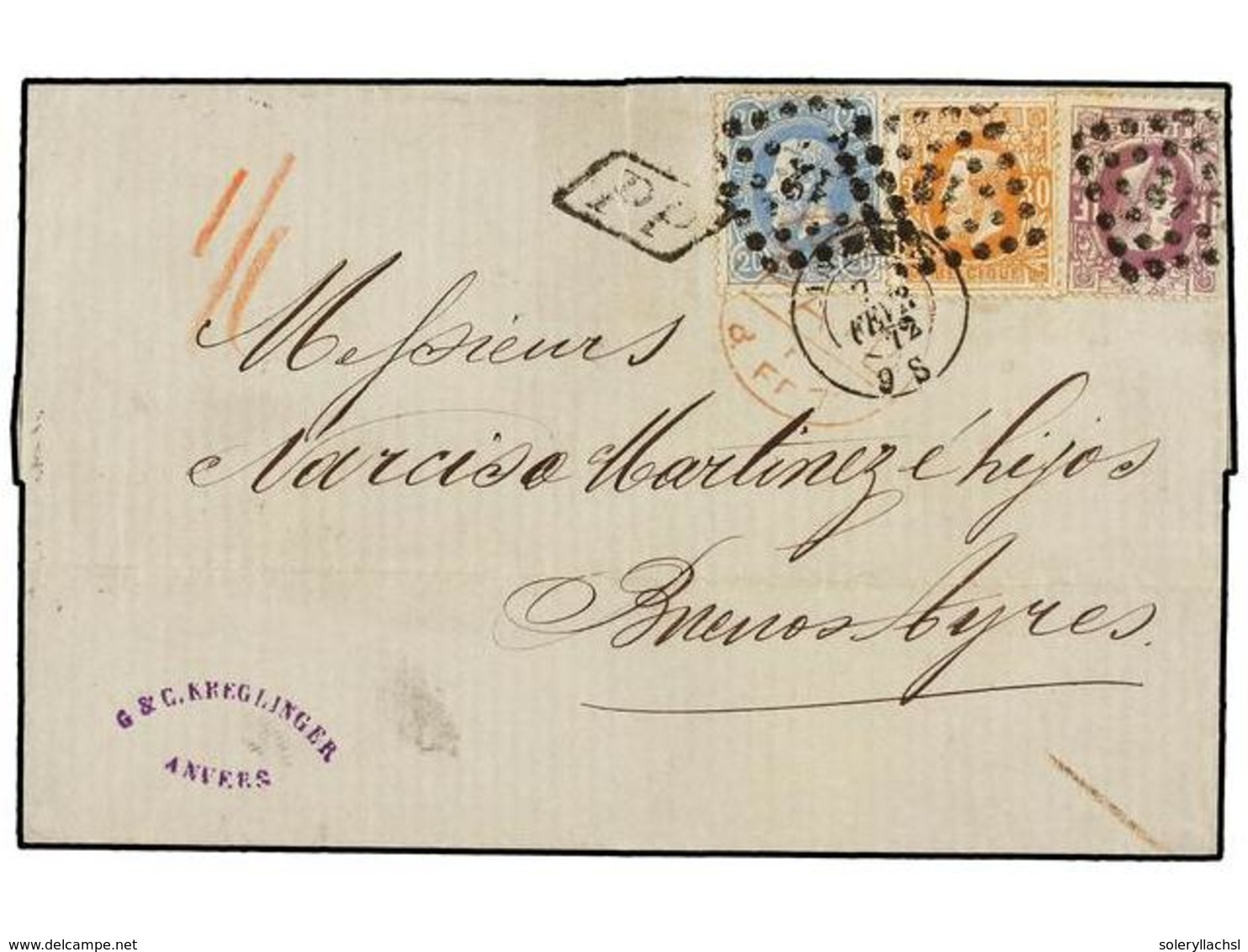 BELGICA. 1872. ANVERS To BUENOS AYRES (Argentina). Folded Letter Franked With 20 Cts. Blue, 30 Cts. Ocre And 1 Fr. Lilac - Unclassified