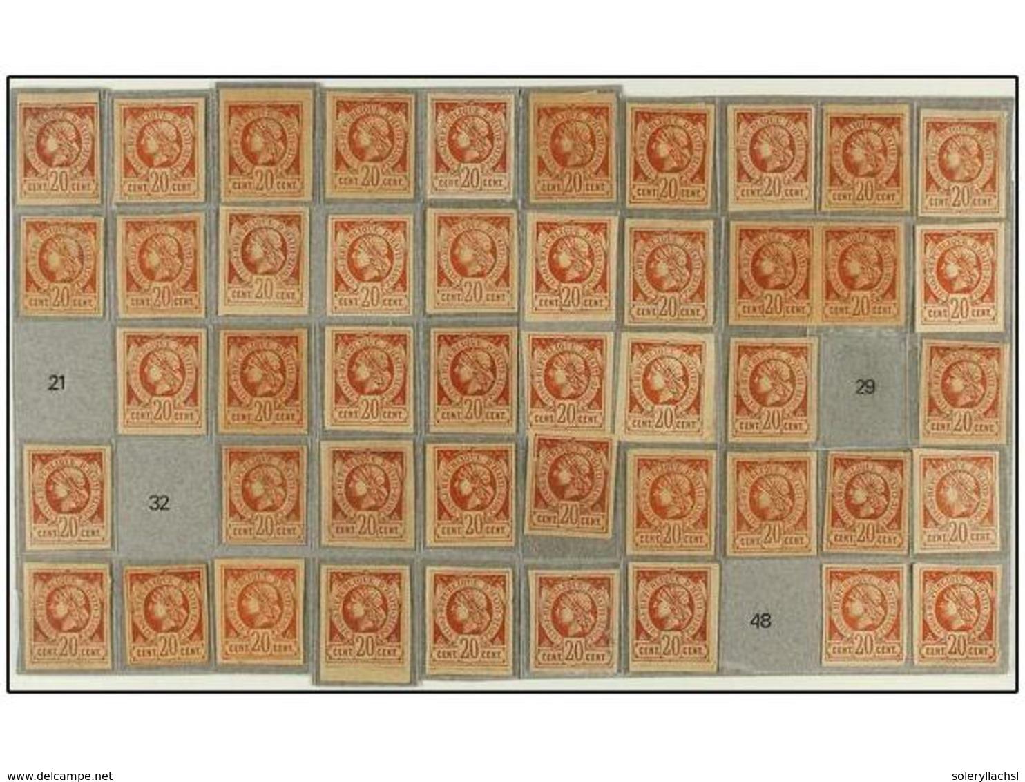 * HAITI. Sc.6. 1881. 20 Cents. Castaño Rojo. Proyecto De Reconstrucción De Plancha Con 47 De Los 50 Tipos Existentes. Ex - Stamps