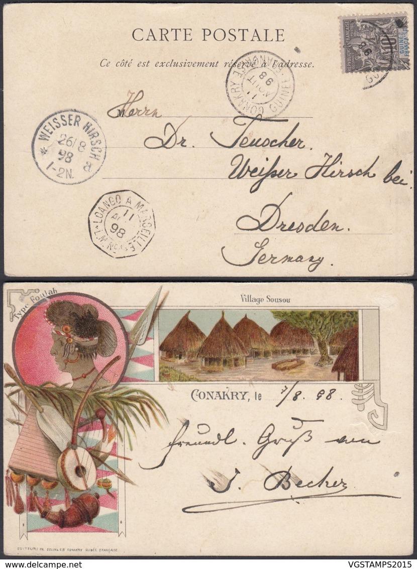 """Colonies Françaises - CP Guinée """" CONAKRY - Village Sousou """"  (5G) DC1198 - French Guinea (1892-1944)"""