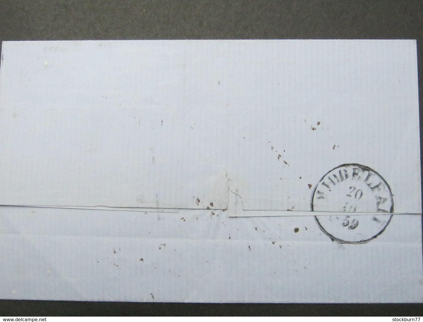 1859 , Brief  Mit Nummernstempel - 1851-63 (Frederik VII)