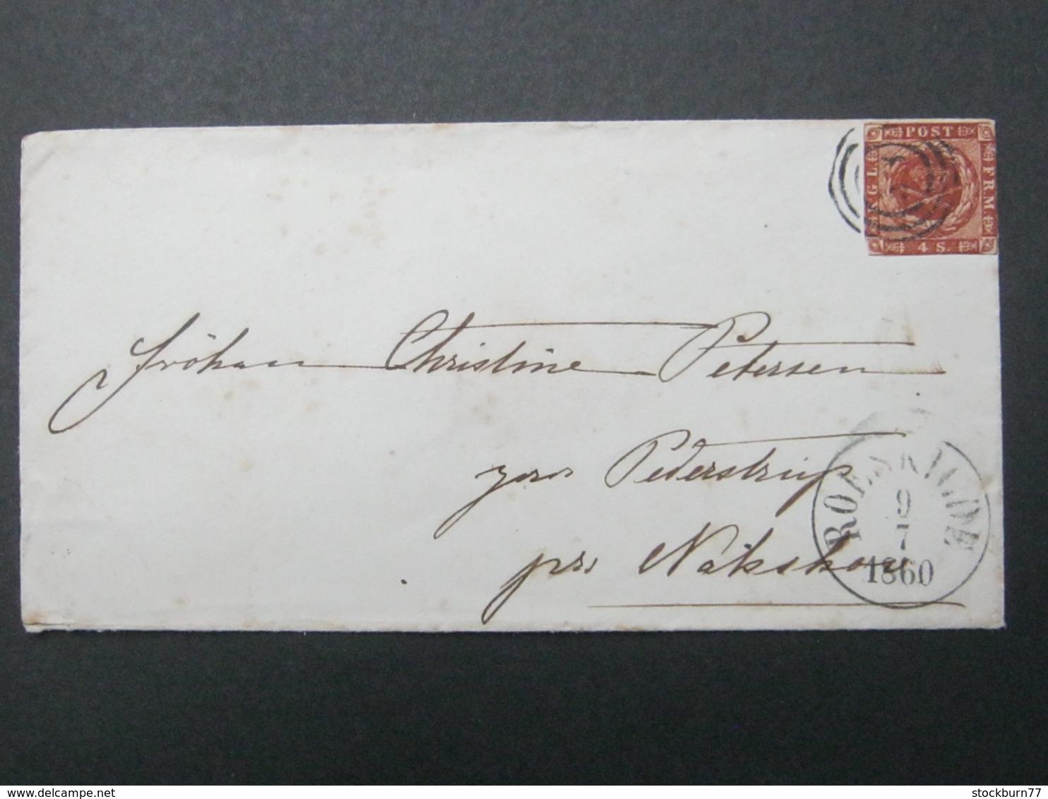 1860 , Brief  Mit Nummernstempel  Aus Roskilde - 1851-63 (Frederik VII)