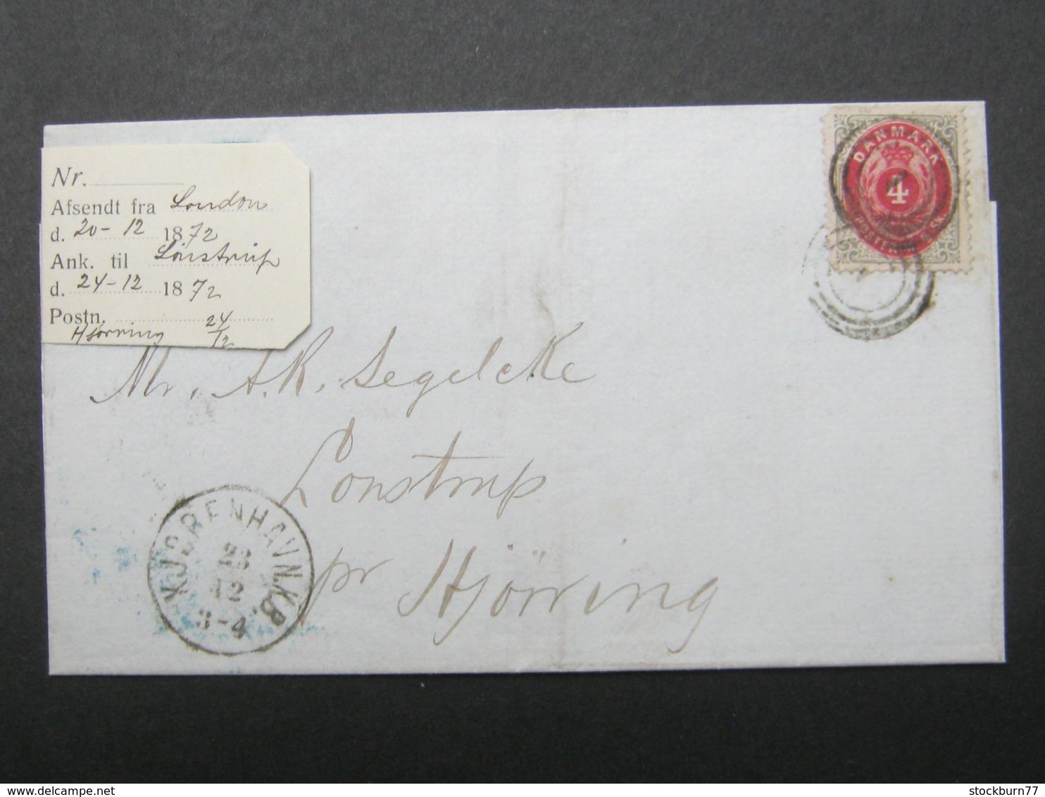 1872 , Brief  Mit Nummernstempel  Aus Kopenhagen - 1864-04 (Christian IX)