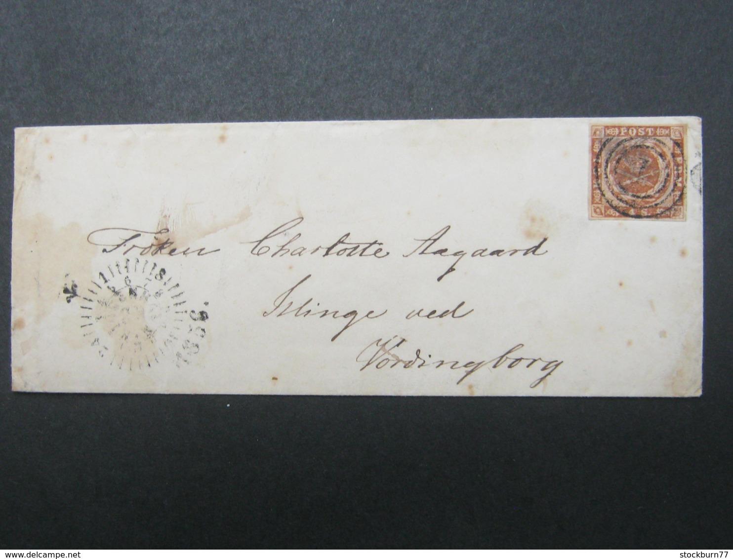 1856 , Brief  Mit Nummernstempel  Aus Kopenhagen - 1864-04 (Christian IX)