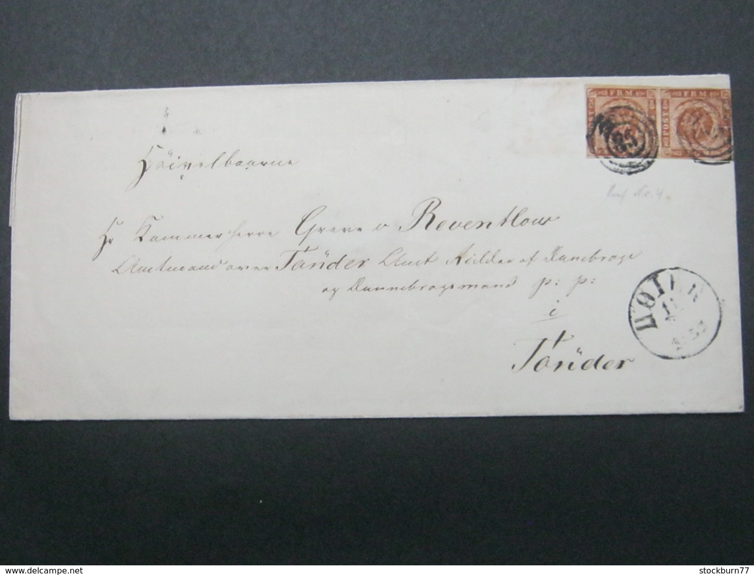 Brief  Mit Nummernstempel  Aus Hoyer , Pair - 1851-63 (Frederik VII)