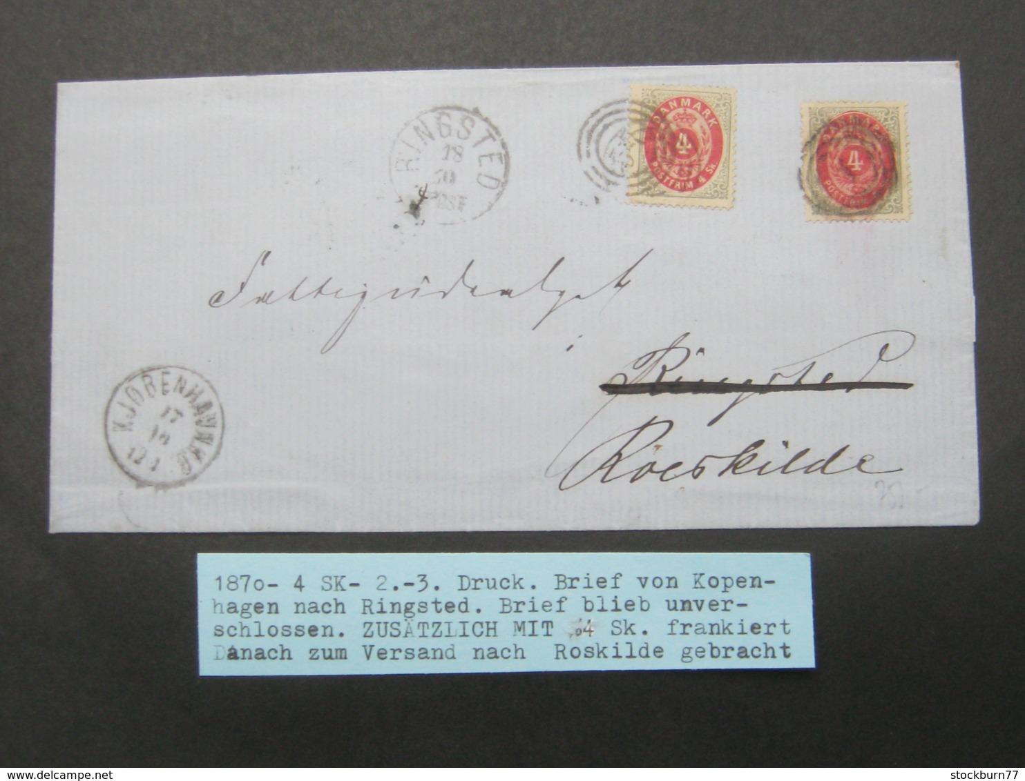 1870 ,Brief  Mit Nummernstempel  Aus Kopenhagen Und Ringstedt , Nachsendebrief - 1851-63 (Frederik VII)
