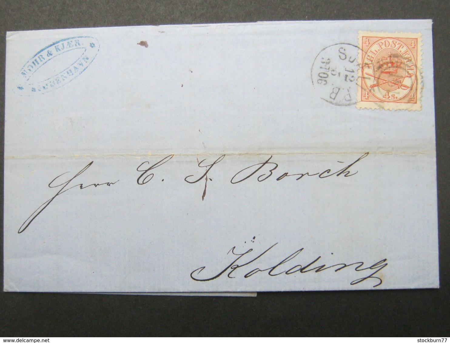 1866 ,Brief  Mit Nummernstempel  Aus Kopenhagen - 1851-63 (Frederik VII)