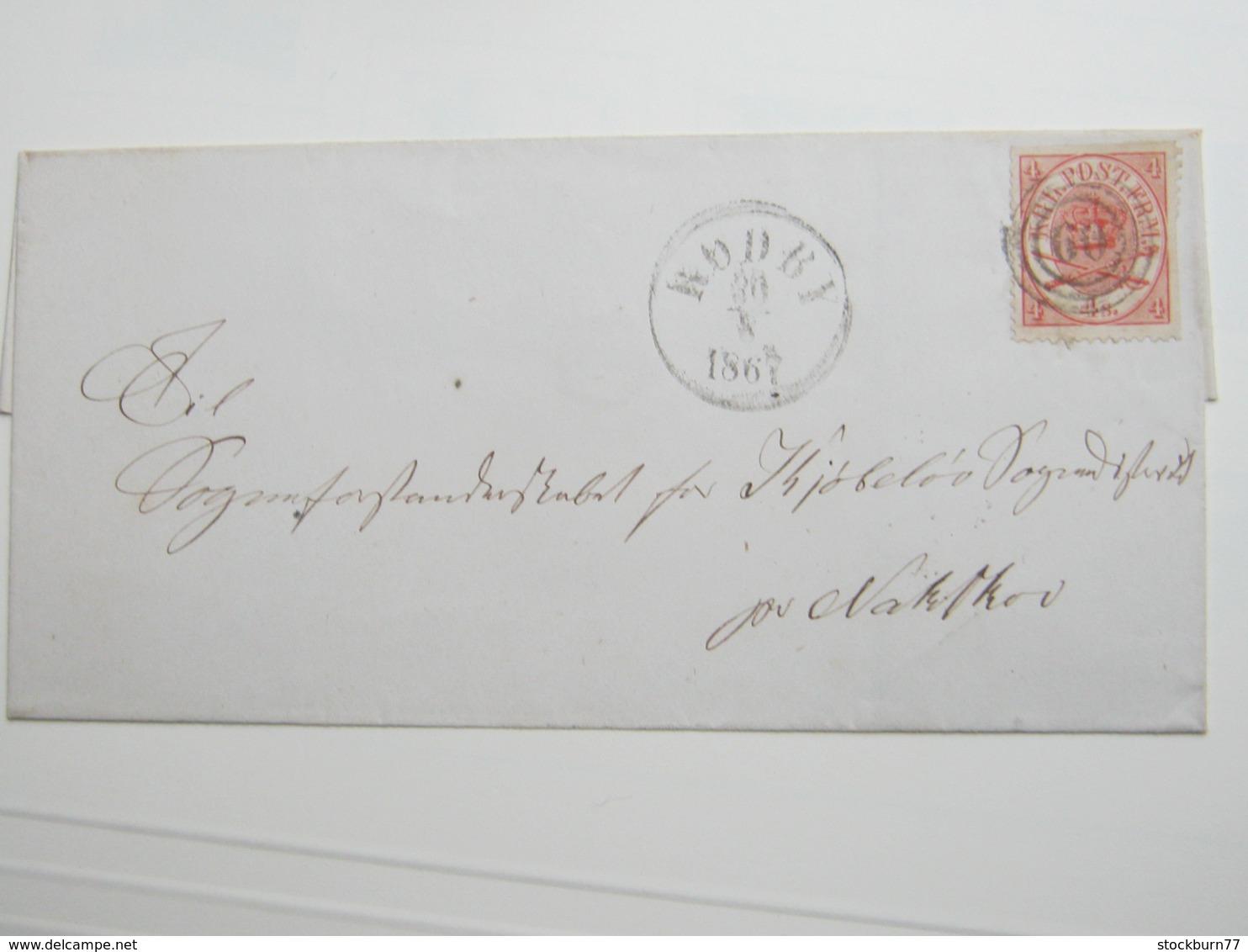 1867 ,Brief  Mit Nummernstempel RÖDBY - 1851-63 (Frederik VII)
