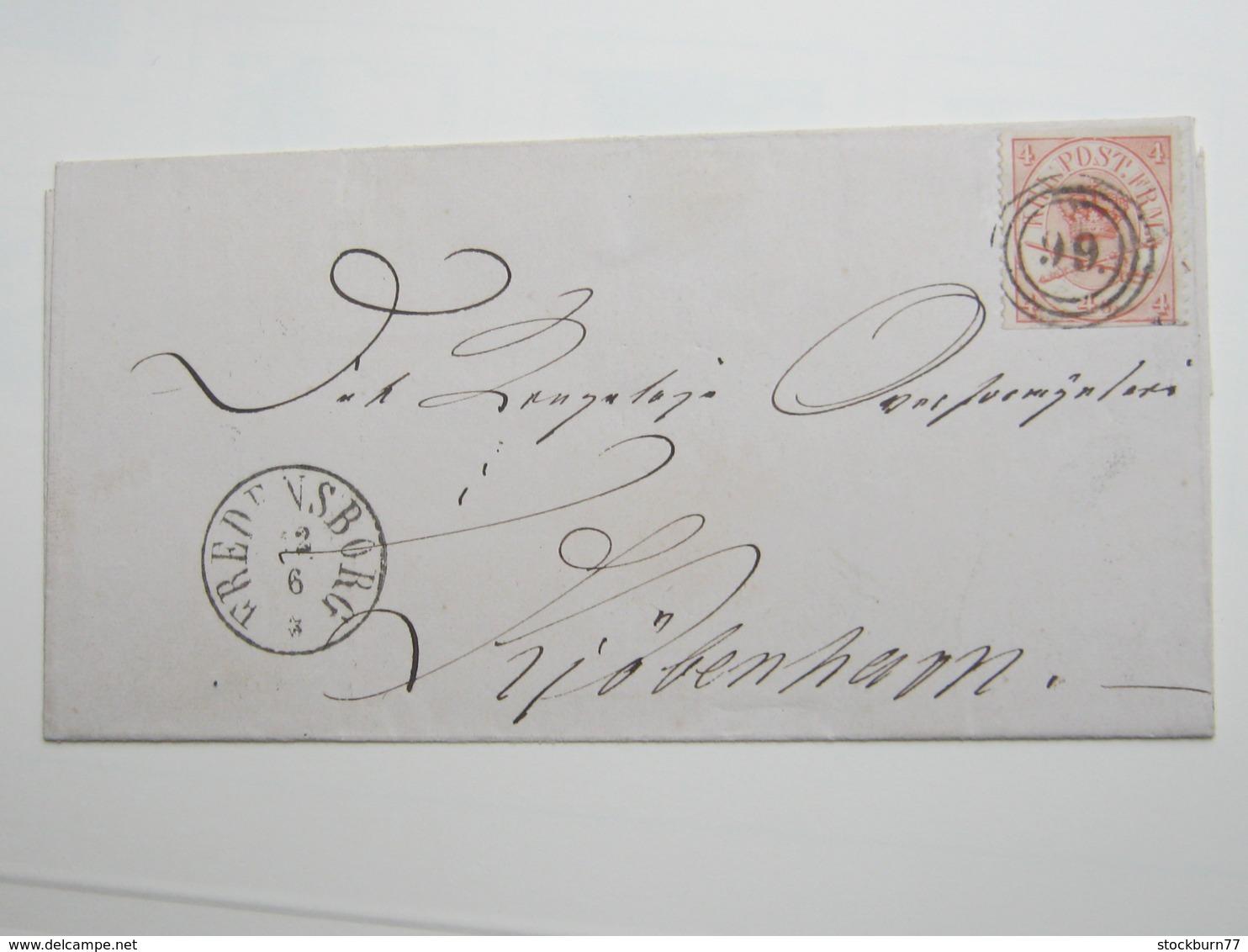 Brief  Mit Nummernstempel FREDERIKSBORG - 1851-63 (Frederik VII)