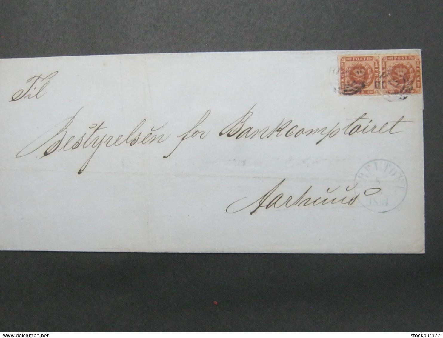 1864 , Brief  Mit Nummernstempel EBELTOFT , Pair - 1851-63 (Frederik VII)