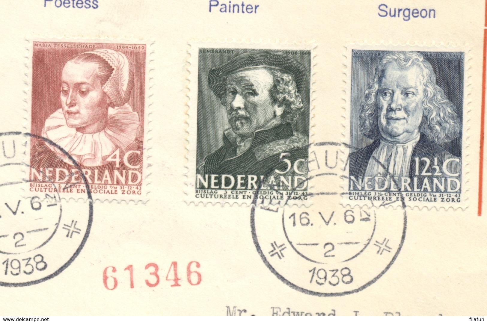 Nederland - 1938 - Zomerserie Op Sluis FDC Van Enkhuizen Naar Cleveland Ohio / USA - Periode 1891-1948 (Wilhelmina)