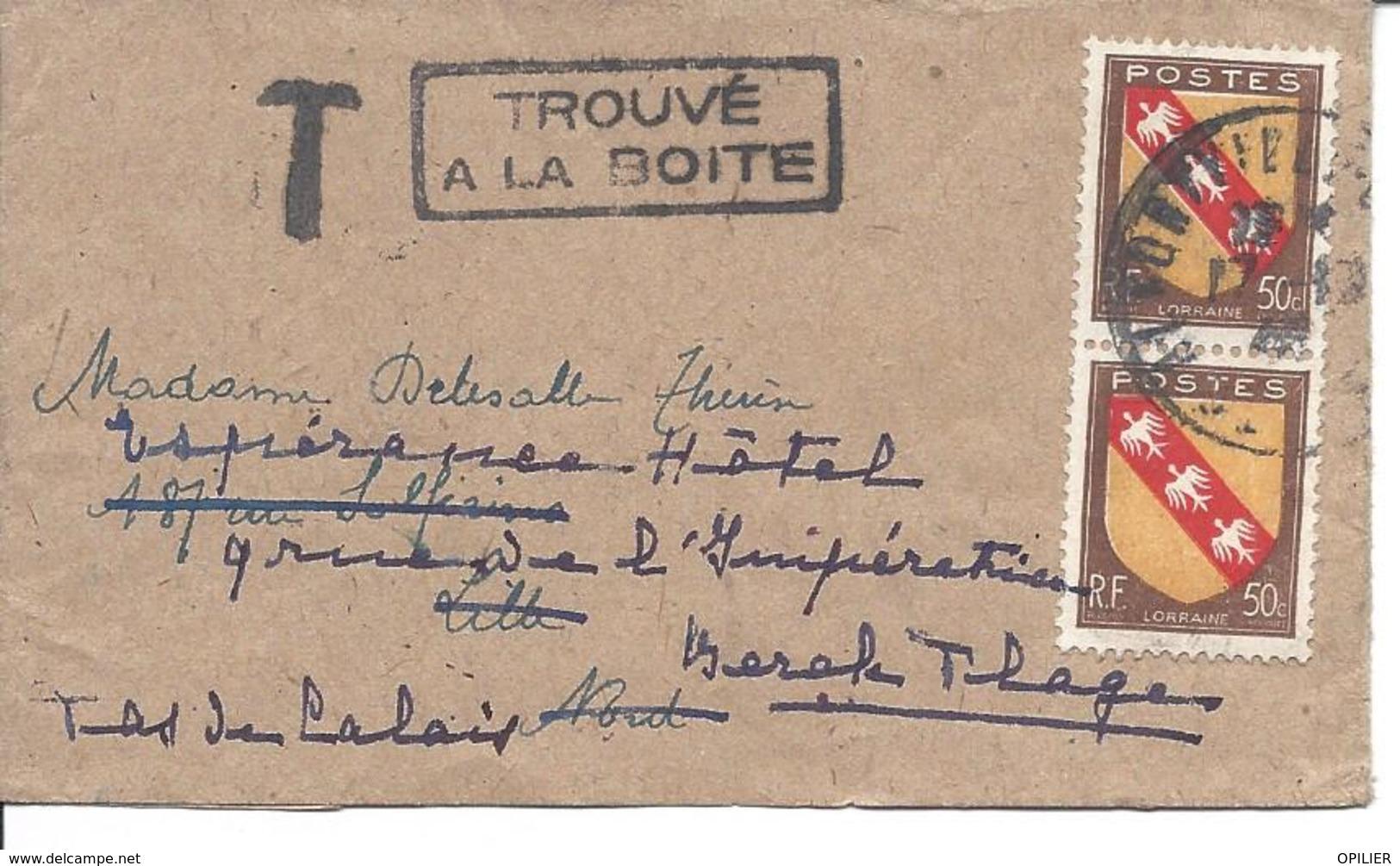 Blason De Lorraine 50c (2 Ex) Sur Bande Journal ALFORTVILLE 17 10 1946 Marques T Et TOUVE A LA BOITE Arrivée LILLE 18 10 - Lettres & Documents