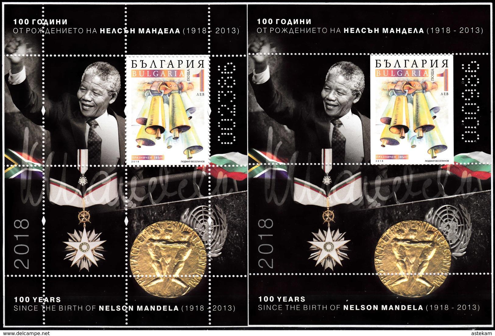 BULGARIA 2018 NELSON MANDELA 100 Years Of HIS BIRTH TWO MNH SOUVENIR SHEETS - Bulgaria