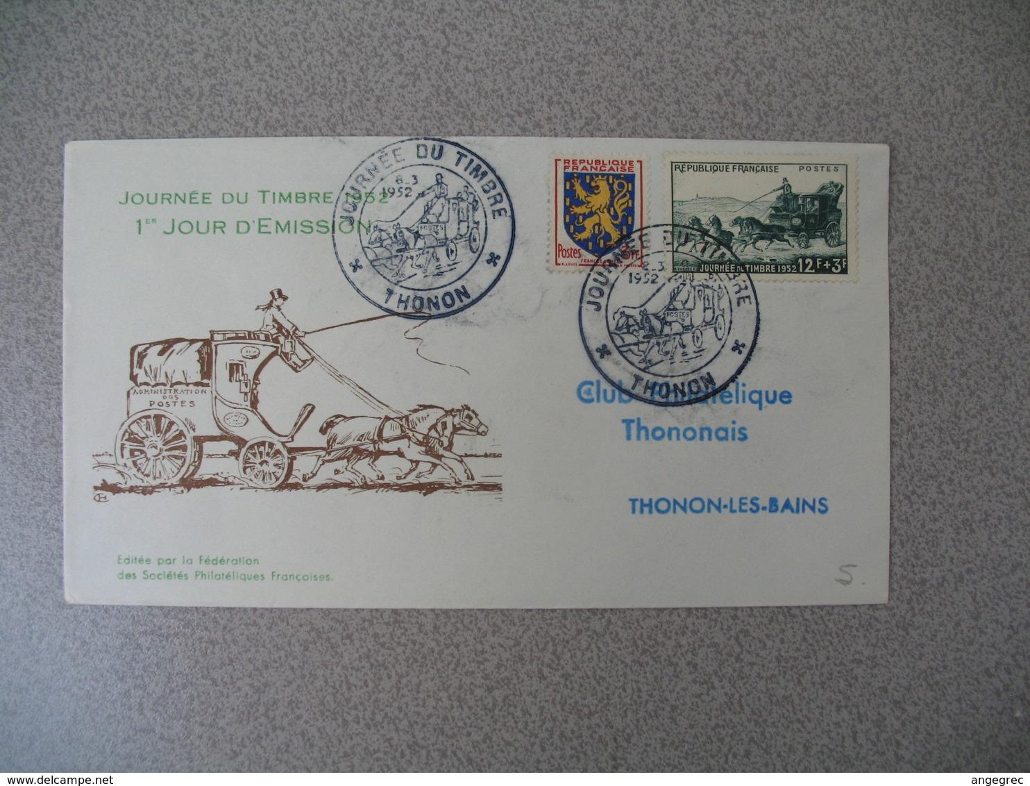 FDC 1952     N° 919  Journée Du Timbre    Malle-Poste   à Voir - FDC