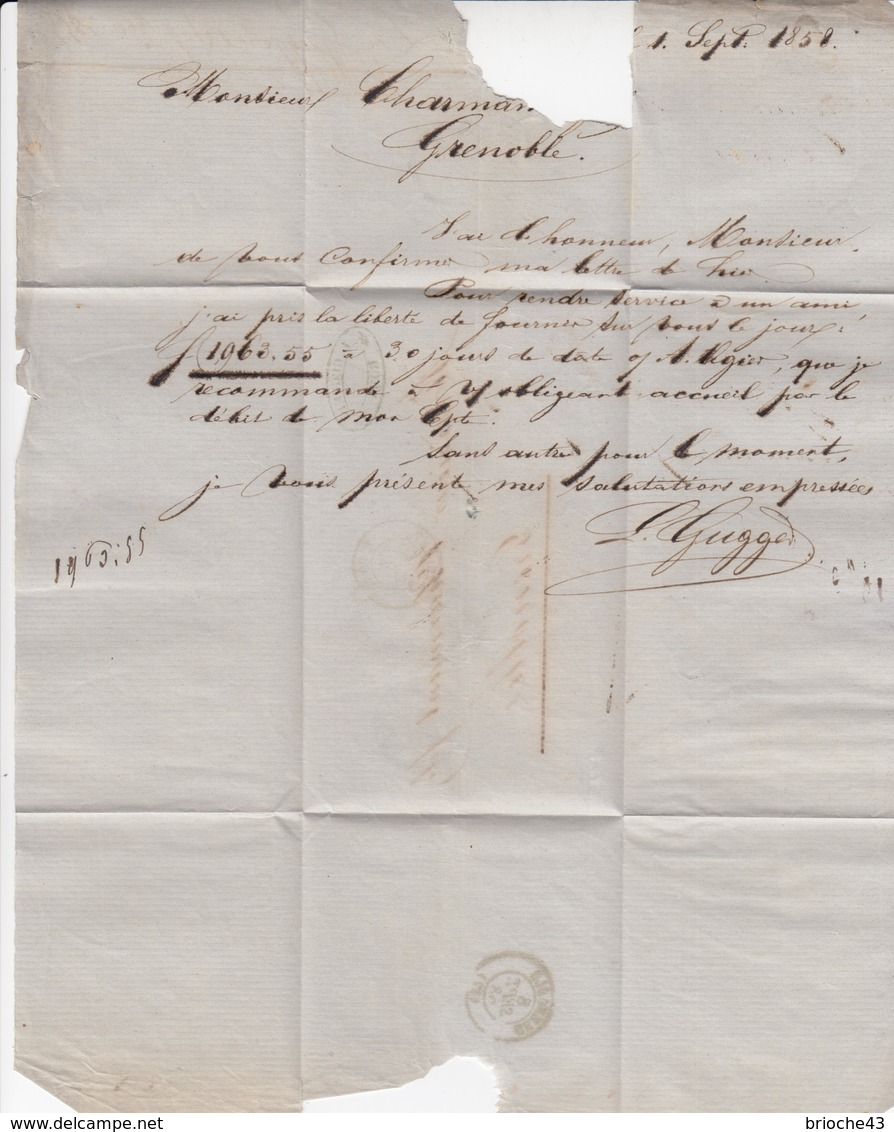 LETTRE ITALIE-L.GUGGER ROMA 1.9.1858 POUR GRENOBLE  -TAXE PLUME 10 - ENTREE ROUGE E.PONT. ANTIBES / 6174 - 1801-1848: Precursores XIX