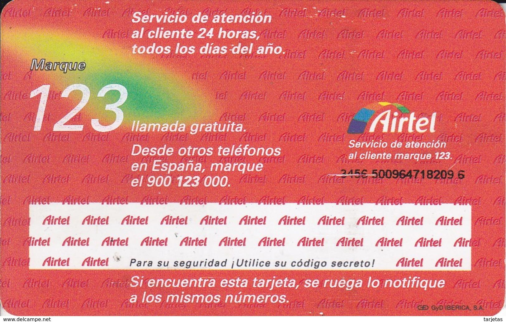 A-016 TARJETA GSM DE ESPAÑA DE AIRTEL CON SU CHIP ORIGINAL - Airtel