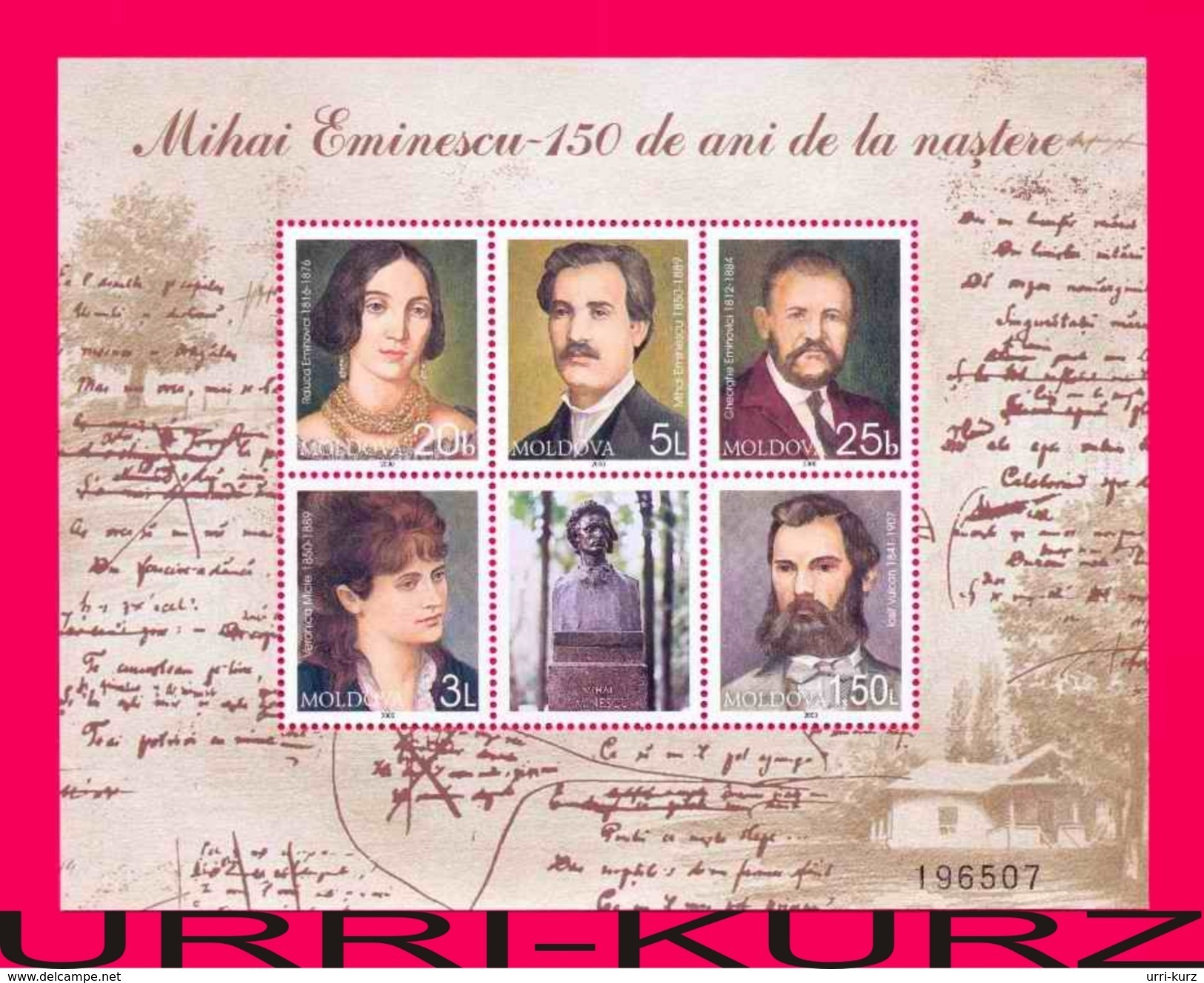 MOLDOVA 2000 Famous People Writer Poet Mihai Eminescu Family Souvenir Sheet Mi Bl.21(345-349) Sc341 MNH - Moldova