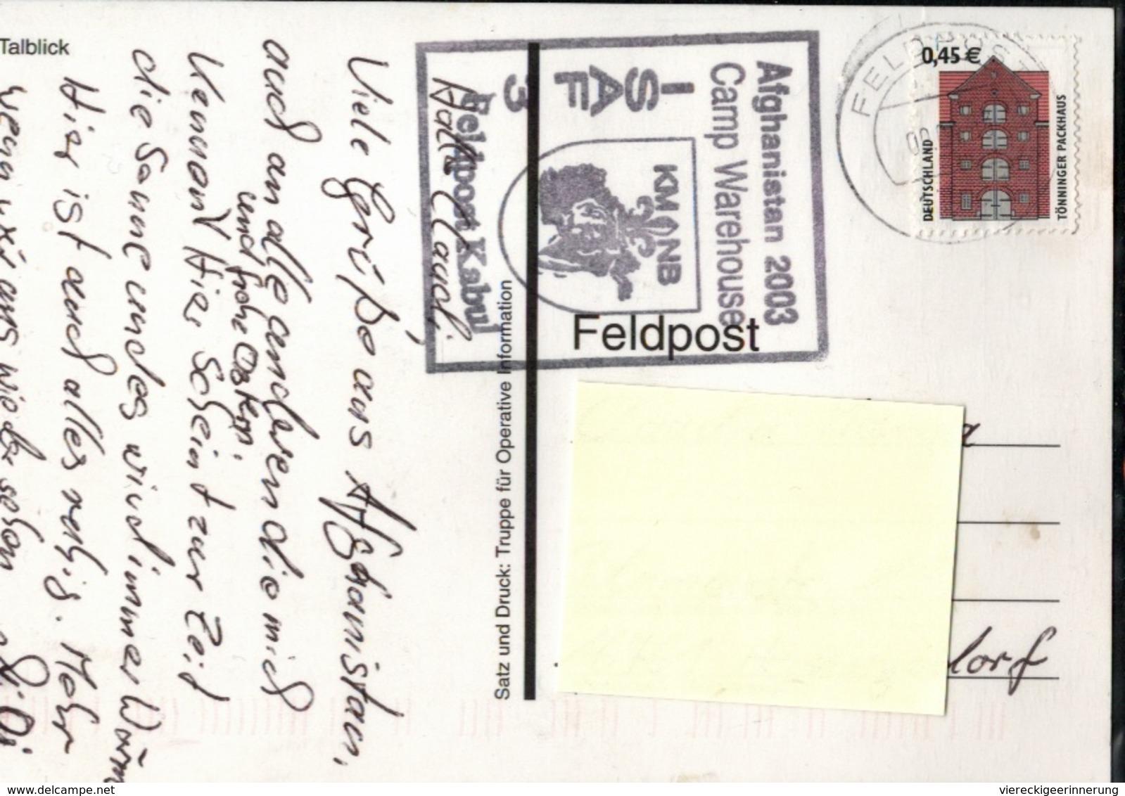 ! Moderne Ansichtskarte Afghanistan, 2003, Feldpostkarte Camp Warehouse, ISAF, Kabul - Afghanistan
