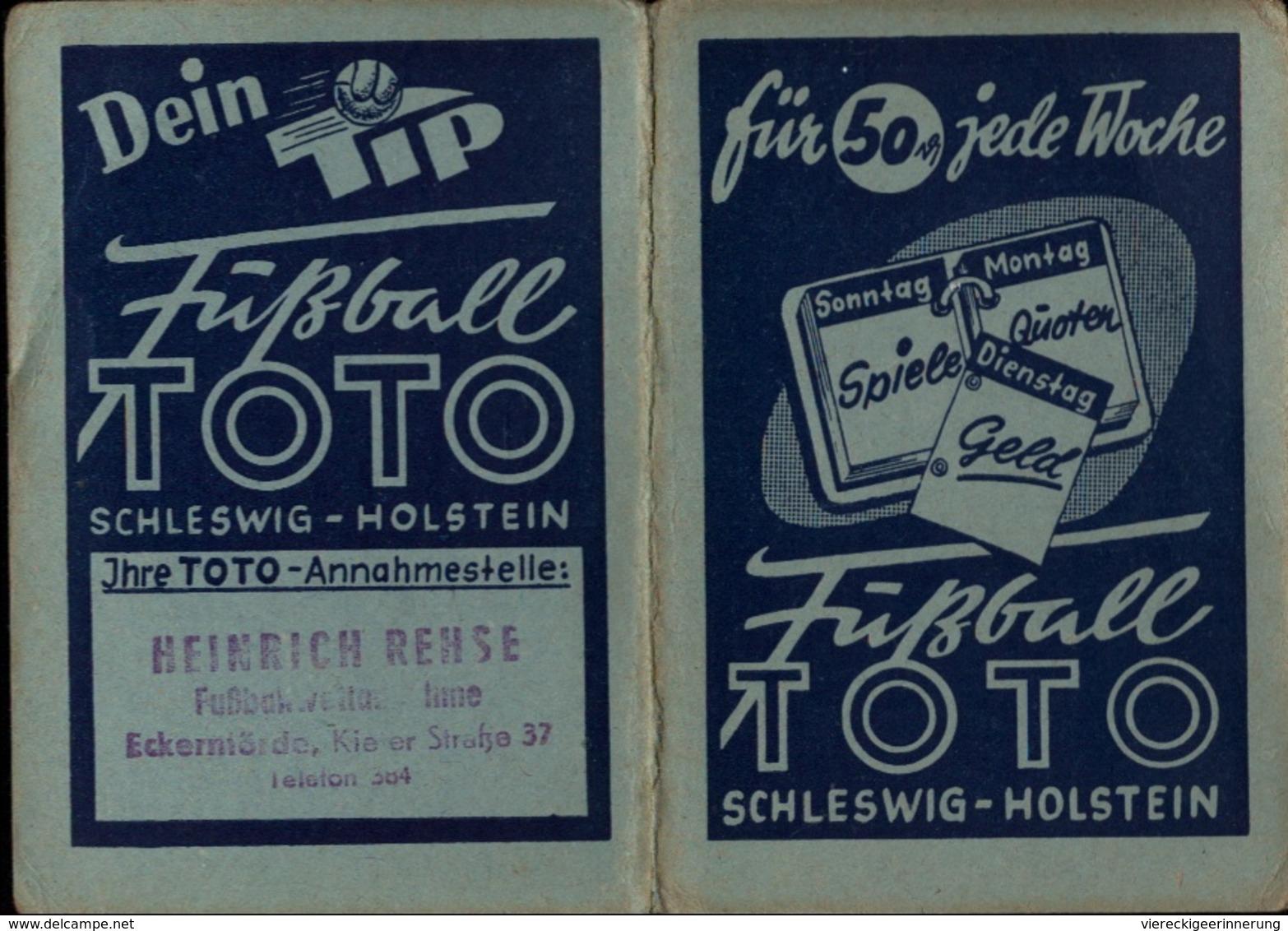 ! 1953 Taschenkalender Mit Reklame Für Fußball Toto Schleswig-Holstein, Eckernförde, Football, Calender, Old Paper - Kalender