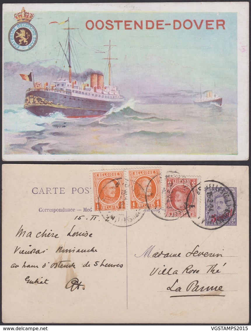 """Belgique- EP 15C Brun - Carte Paquebot Voyagée Affranchissement Houyoux """" Oostende-Dover """"  (DD) DC1206 - Stamped Stationery"""