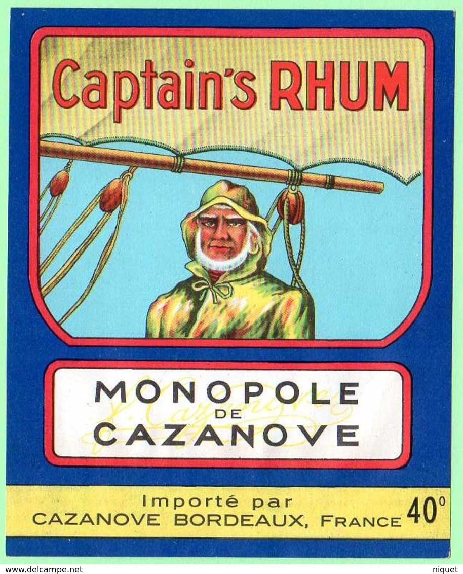 Etiquette Rhum, Captain's Rhum, Monopole Cazanove, Bordeaux, Visage De Marin - Rhum