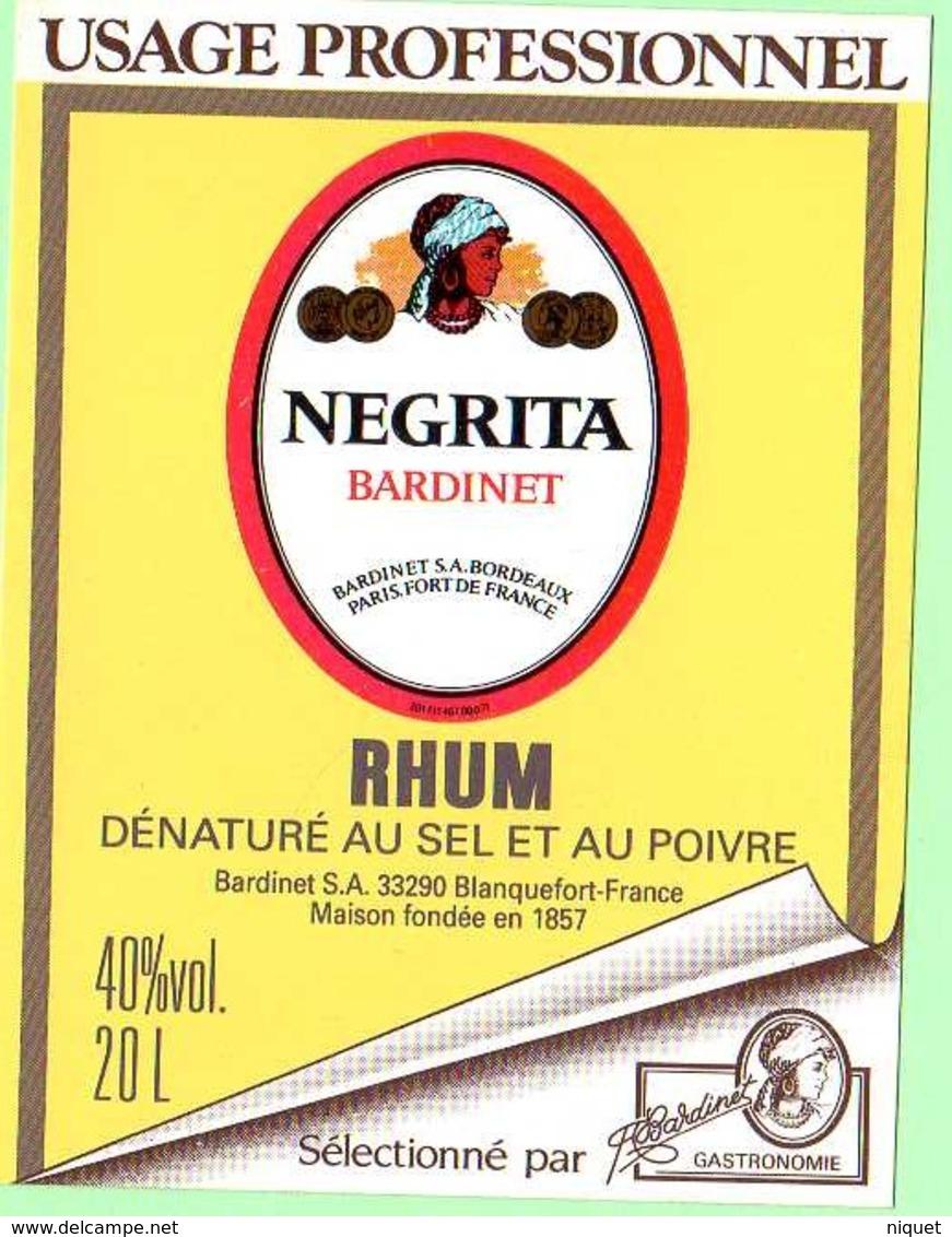 Etiquette Rhum, Negrita, Bardinet, Usage Professionnel, Dénaturé Au Sel Et Au Poivre, Autocollante - Rhum